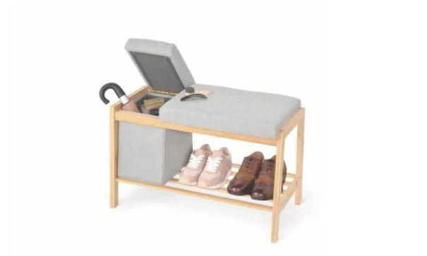 Banco BAMBÚ con Cesto almacenaje y repisa para zapatos