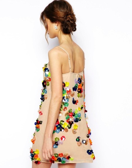 vestido de flores lentejuelas de asos