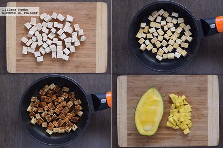 Tacos de tofu y mango con salsa de cacahuete. Pasos