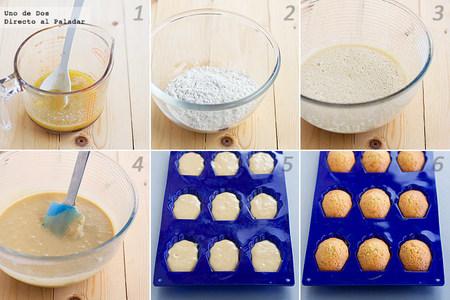 Receta paso a paso de madeleines de naranja y cardamomo