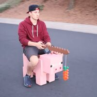 Crean un cerdo de Minecraft que alcanza 32 km/h y funciona persiguiendo una zanahoria para lograr velocidades porcinas