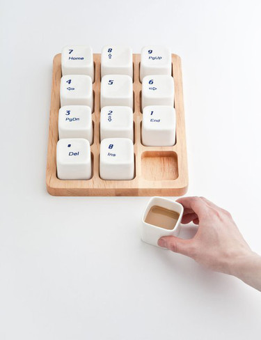 Juego de tazas de café con forma de teclado numérico