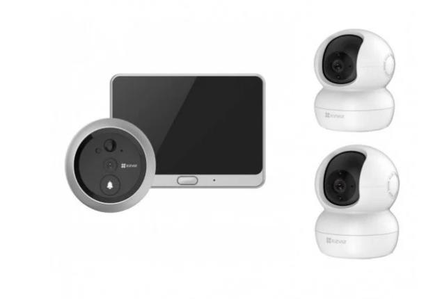 Ezviz DP1C Mirilla Wifi 720P con Detección de Movimiento y Visión Nocturna + 2x TY2 Cámara de Vigila