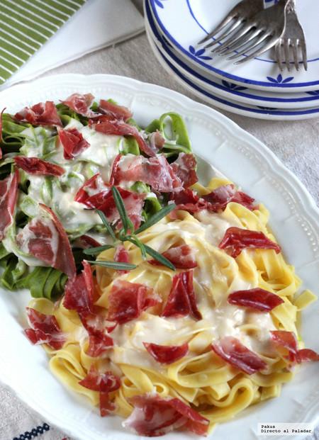 Paja Y Heno Con Salsa De Queso Y Coppa Di Parma Receta Italiana De Pasta