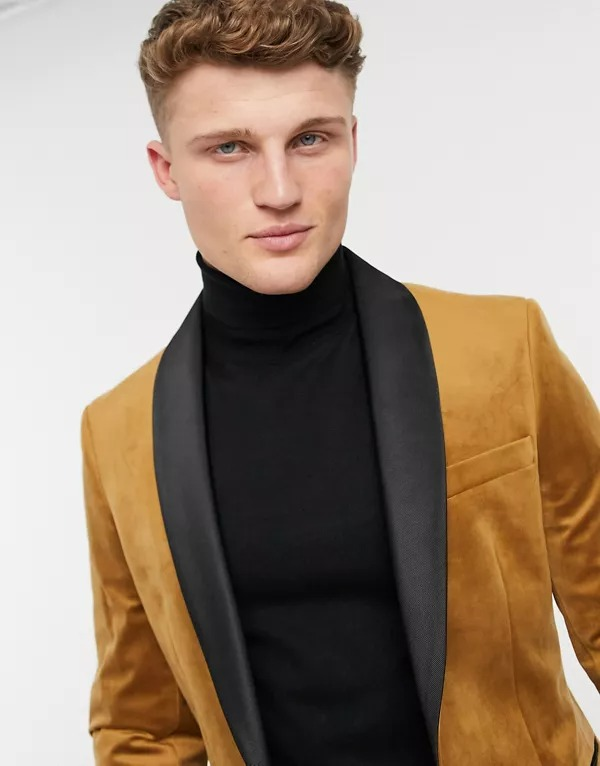 Chaqueta de vestir color camel de terciopelo de Moss London