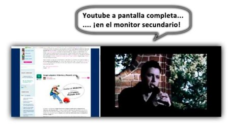 IgnoFlash, Youtube a pantalla completa con doble monitor