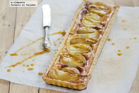 Tarta de peras caramelizadas y almendra: receta de postre para amantes de la fruta