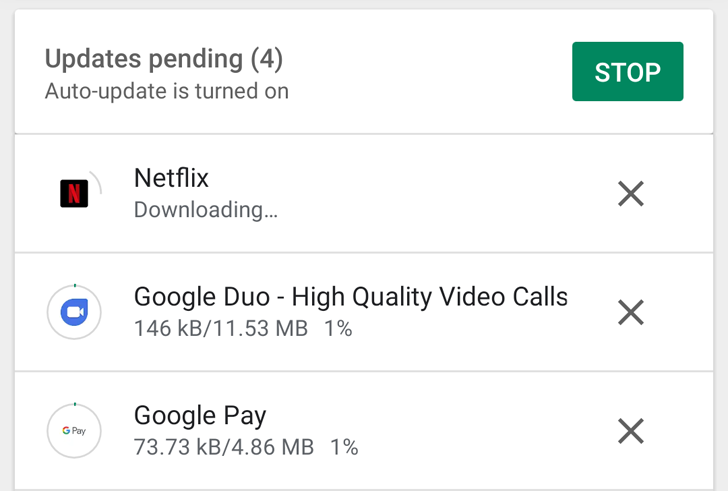 Google Play Store test the simultaneous download of applications