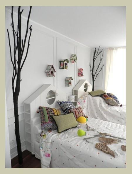 Cabecero con forma de casa de pájaros