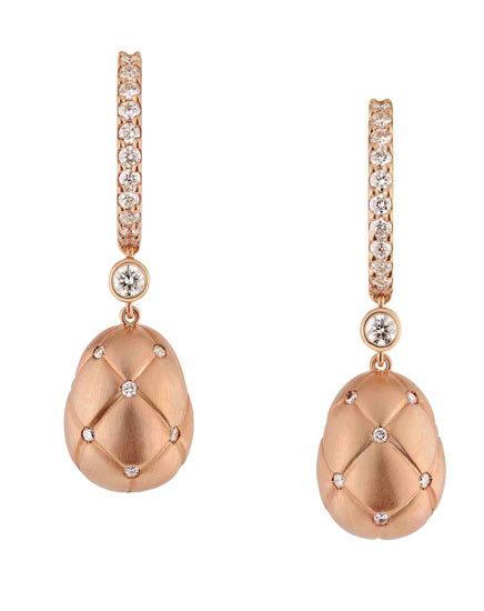Pendientes Treillage Faberge oro rosa diamantes