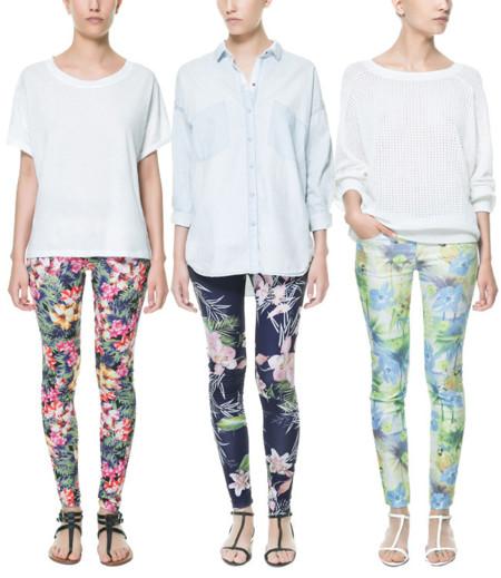 Zara flores pantalón