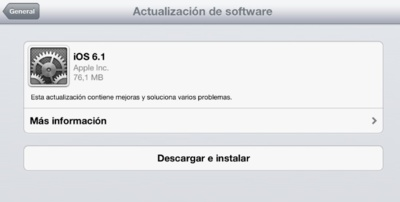iOS 6.1 ya disponible para todos los dispositivos móviles de Apple