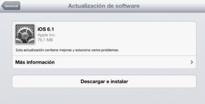 iOS 6.1 ya disponible para todos los dispositivos móviles de Apple
