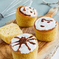 Muffins de plátano y calabaza. Receta de desayuno para Halloween y Día de Muertos