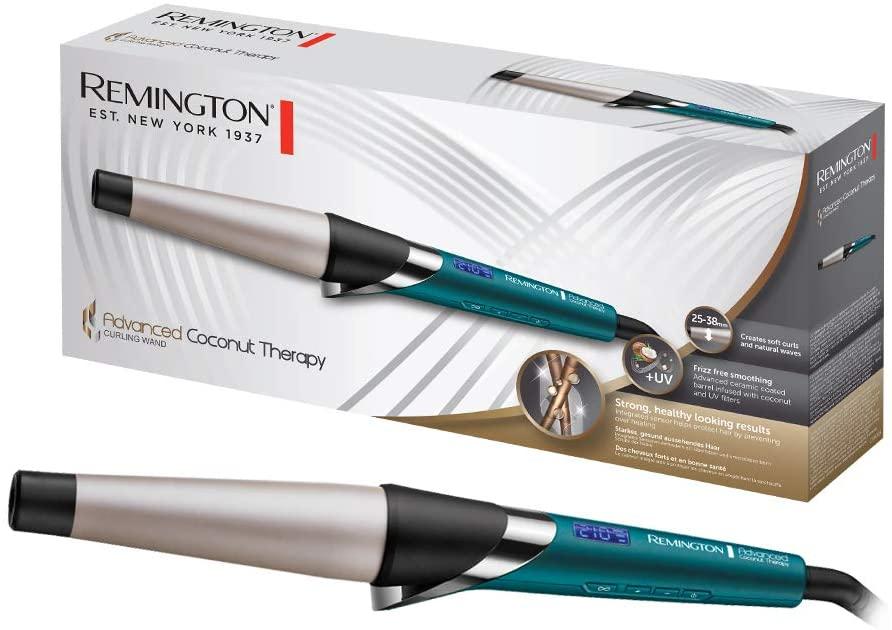Remington Advanced Coconut Therapy Rizador de Pelo - Barril de 25-38 mm, Cerámica, 5 Ajustes, Hasta 210 °C, Digital, Azul - CI86X8