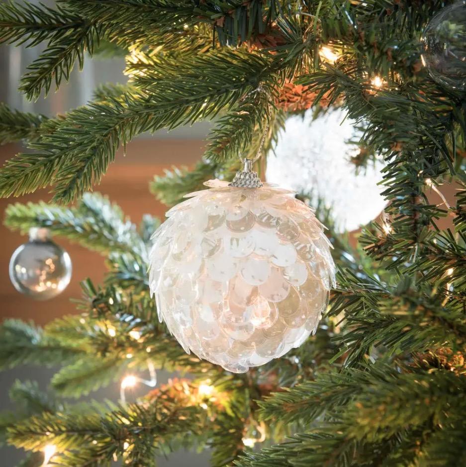 Bola de Navidad con escamas plateadas - Lote de 12 unidades -