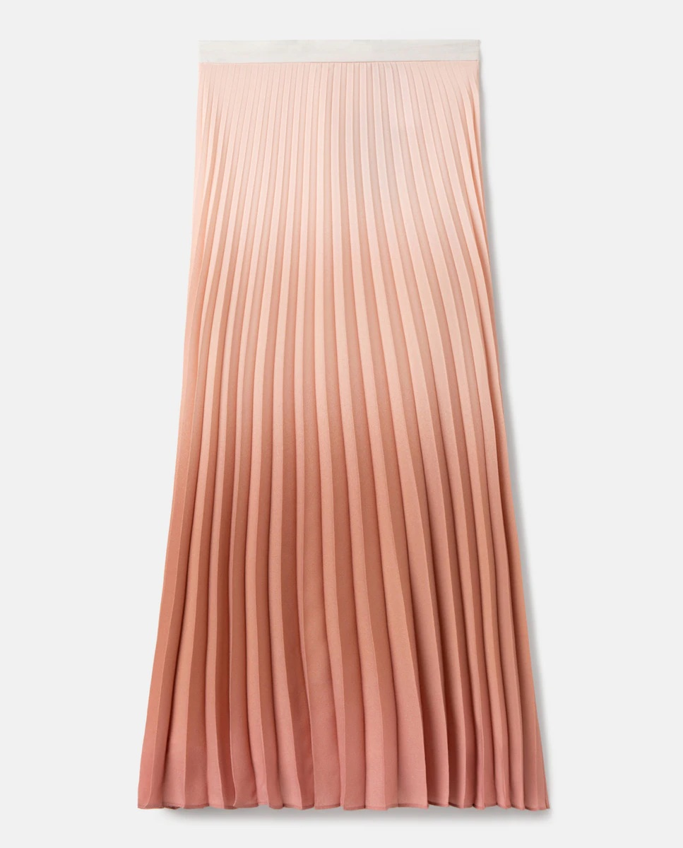 Falda midi plisada con efecto degradado.