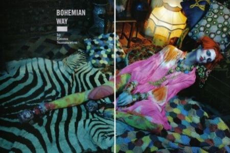 El estilo bohemio domina esta temporada por Sasha Pivovarova para Vogue Italia, Emma