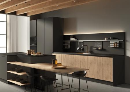 Cocina en negro con madera