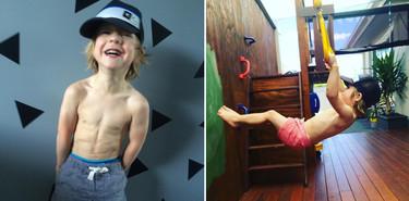 Un niño con superpoderes (o casi): se llama Dash y con tres años ya marca abdominales