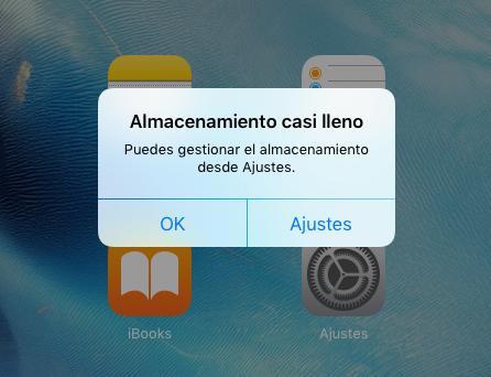 Almacenamiento lleno iOS