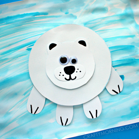 Paper Polar Bear Winter Kids Craft