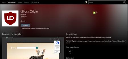 uBlock Origin llega a Microsoft Edge para mejorar su pobre ecosistema de extensiones