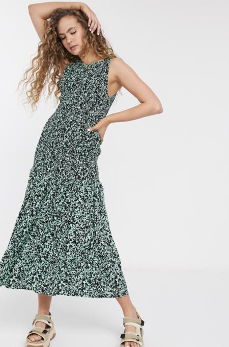 Vestido Midi Verde Fruncido Con Estampado De Pintura Josephine De Weekday