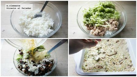 Pastel salado de atún y arroz con queso feta