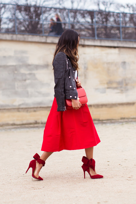 Song Of Style Red Bow Heels Red Skirt