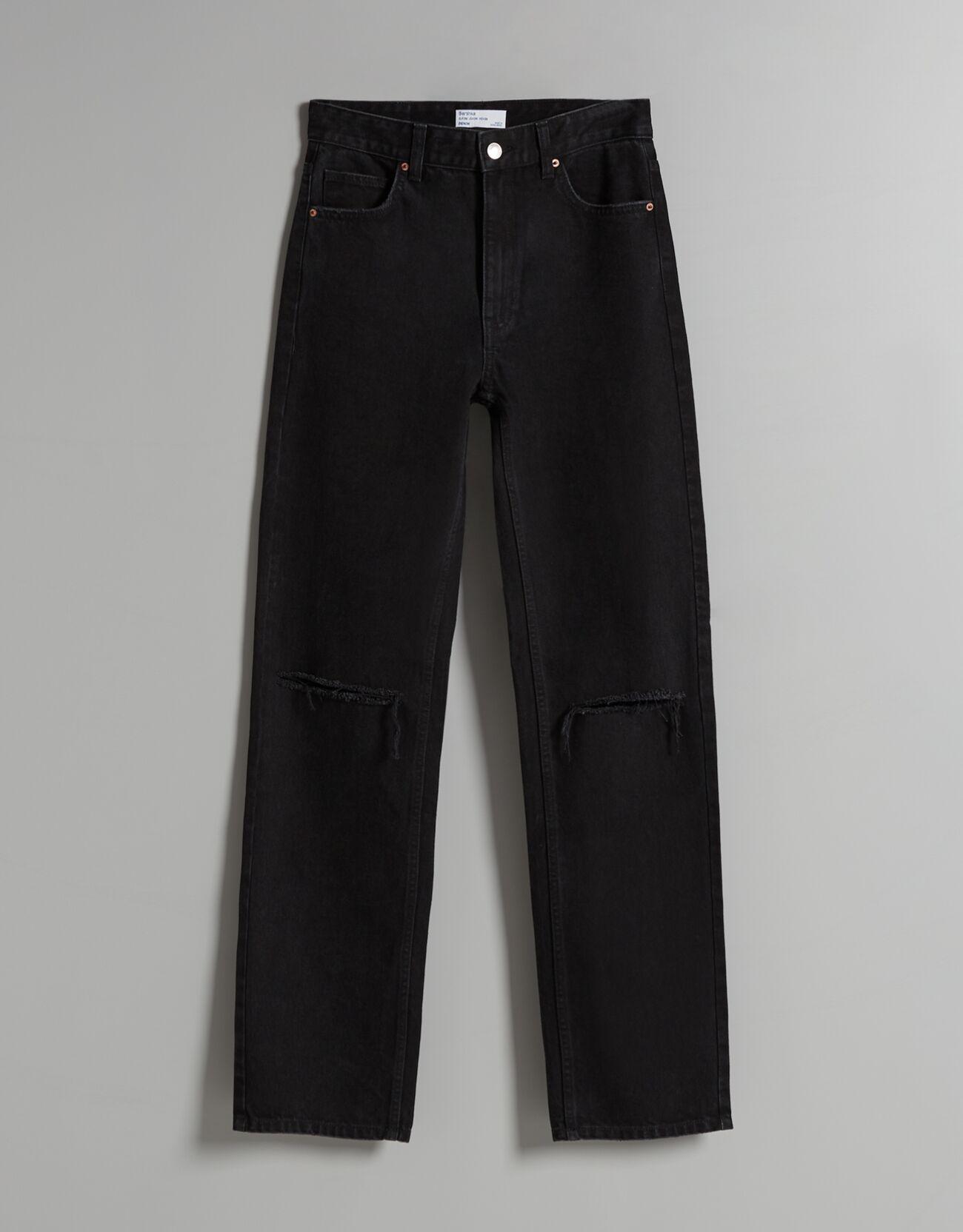 Jeans straight high waist rotos.