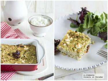Pastel salado de atún y arroz con queso feta. Receta