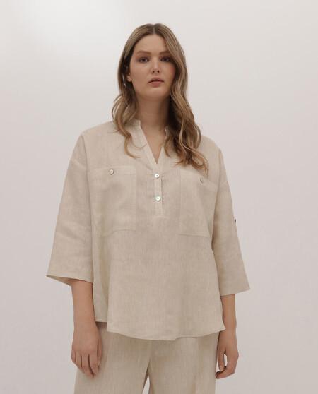 Blusa De Mujer Talla Grande Couchel Collection 100 Lino Con Bolsillos