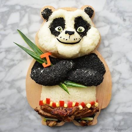 Madre Hace Obras De Arte Infantiles Con Comida Saludable Hijos Kunfu Panda