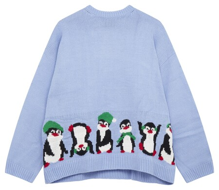 Asos Design Bklue Penguin Christmas Jumper Gbp25