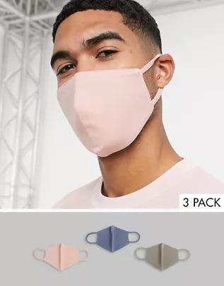 Pack de 3 mascarillas de punto de algodón orgánico en rosa sombra, gris y azul de ASOS DESIGN