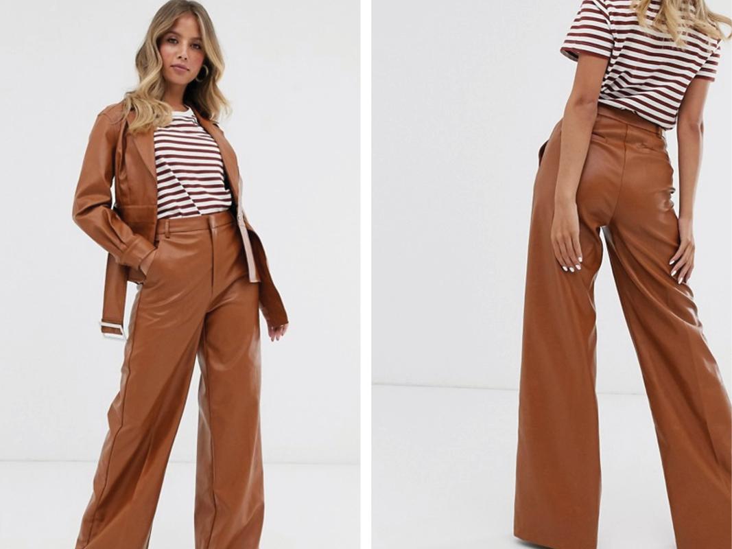 Pantalones de pernera ancha de cuero sintético de Skylar Rose
