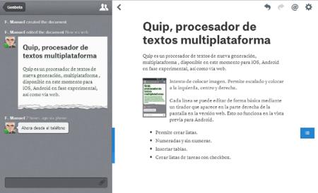 Edición de documentos con Quip
