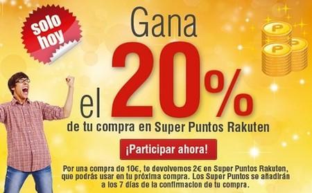 Rakuten te ofrece un 20 % de descuento en puntos para próximas compras ¡Solo hoy!