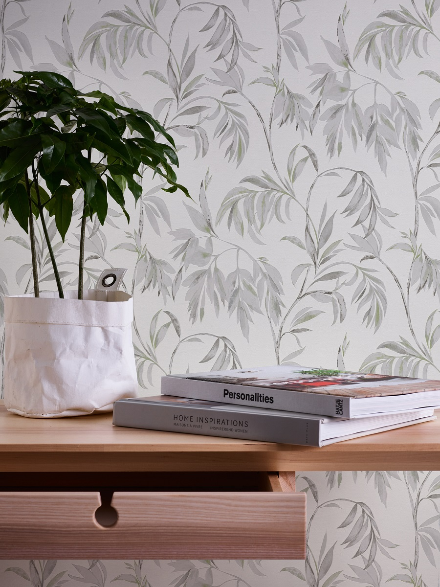 Papel pintado espumante floral Attractive Calm Ramas Verdes blanco