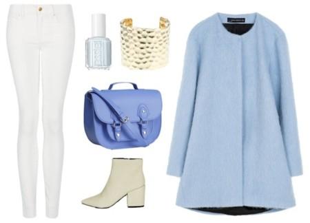 look abrigo zara azul cielo