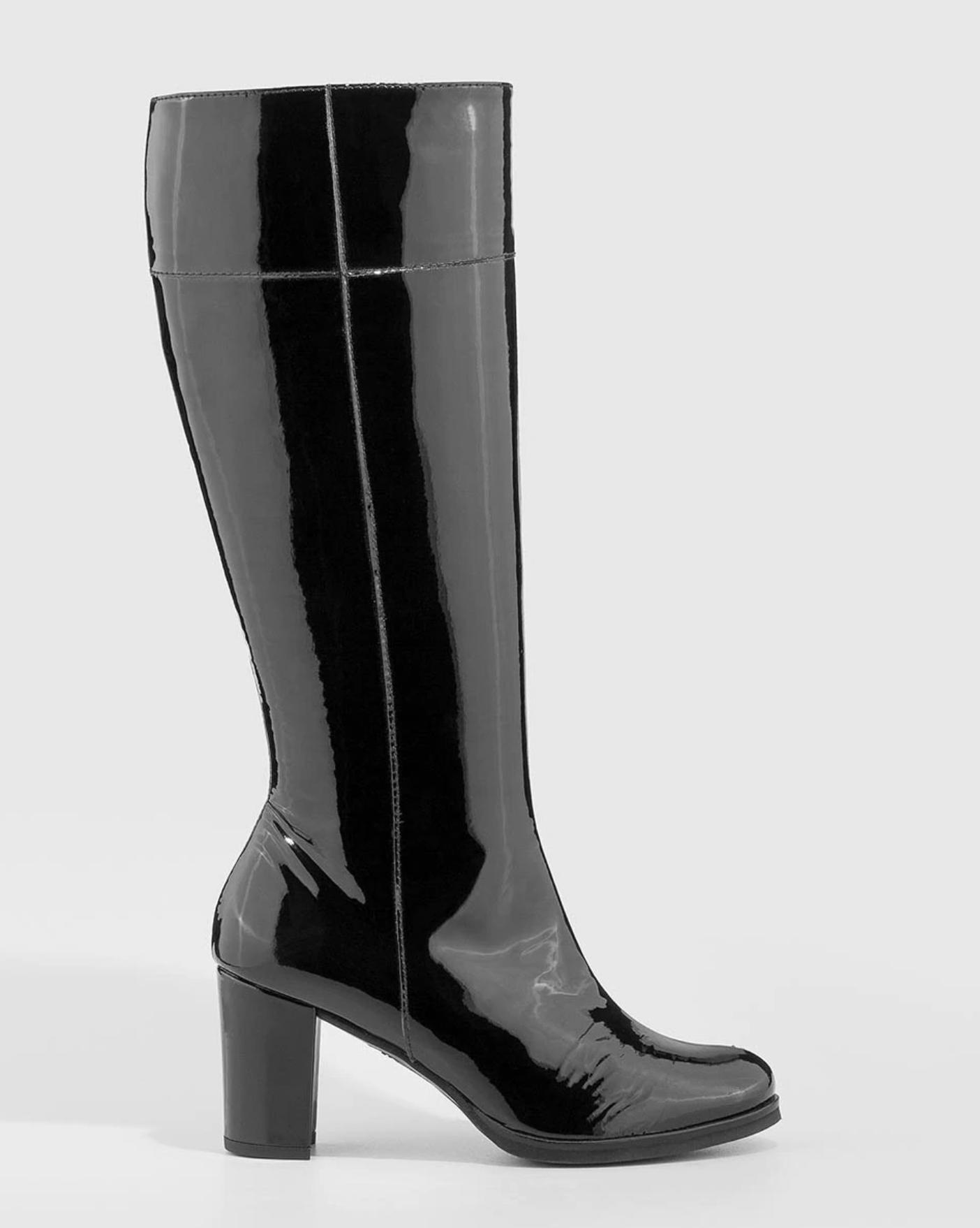 Botas de tacón de mujer Gadea en charol de color negro