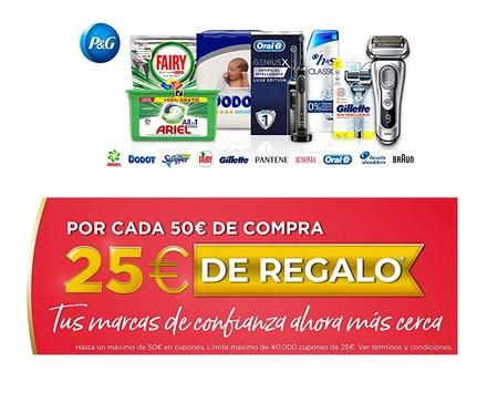 25 euros de regalo por cada 50 euros de compra en una atractiva promoción en Amazon con marcas como Gillette, Oral-B, Dodot o Pantene