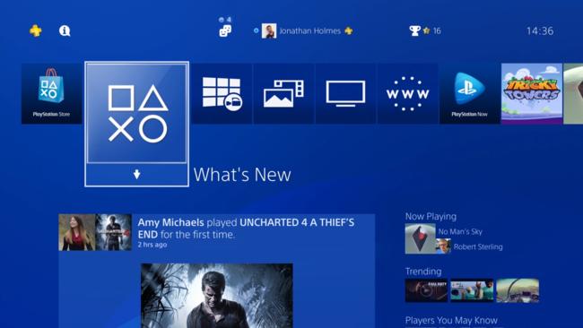 Sony PS4 interfaz