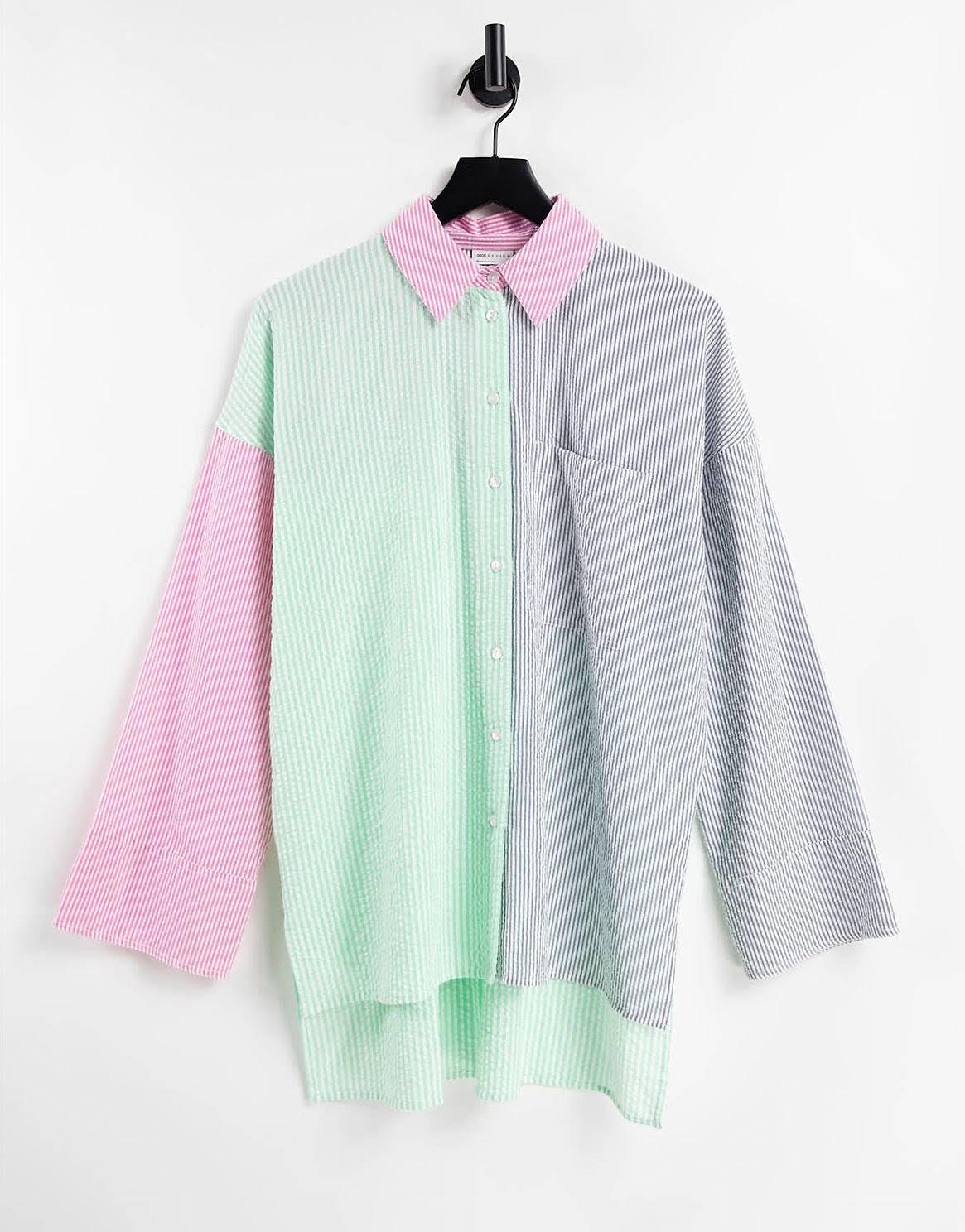 Camisa dad a rayas variadas azules, verdes y rosas de sirsaca de ASOS DESIGN