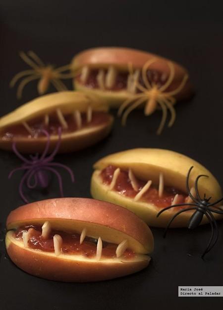 Bocas terroríficas de manzana. Receta de Halloween