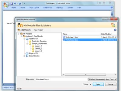 Integra Moodle en Office con un plugin de Microsoft