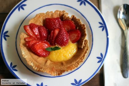 Tartitas con fresas y Curd