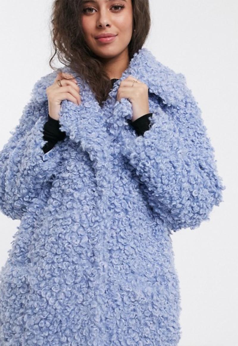 Abrigo azul de borreguito Luxe de ASOS DESIGN Petite