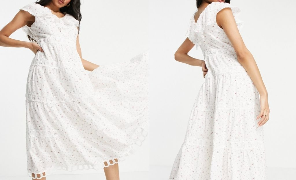 Vestido midi blanco hueso con volantes en el cuello y diseño escalonado de Just Me